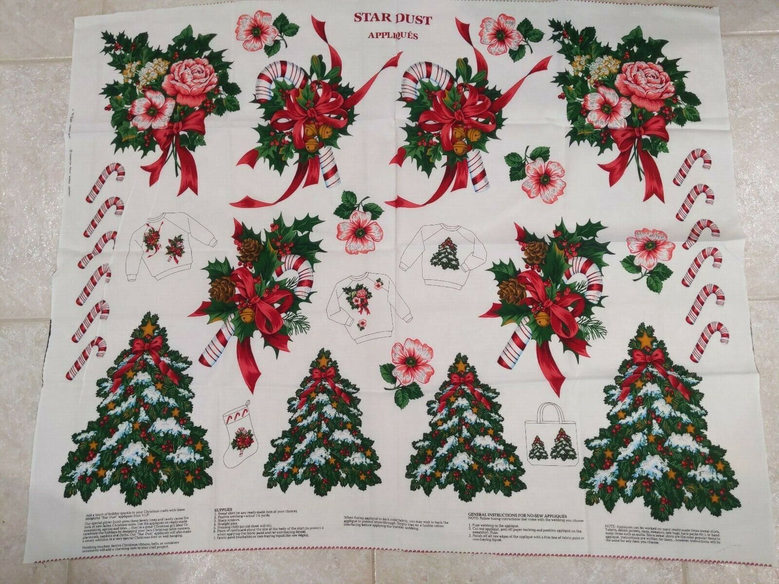 Cranston Christmas Cotton Fabric STAR DUST APPLIQUES 44 X 35 Cut N Sew Panel - $5.00