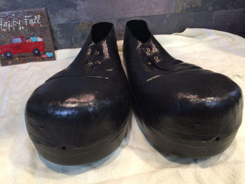 Vintage Rubies black Jumbo Plastic Clown Costume Shoes Adult #741