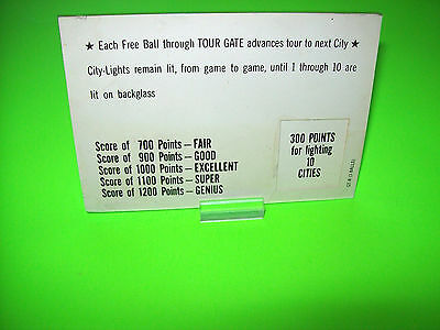 Bally GRAND / HAPPY TOUR 1964 Original Flipper Pinball Machine Instruction Cards