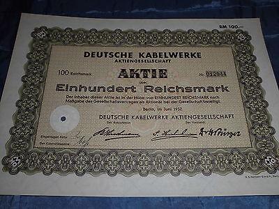 489 : histor. Wertpapier / Aktie , Kabelwerke ,100 Reichsmark , Berlin Juni 1932