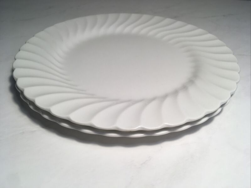"Pair Of Snow White Regency 10"" Dinner Plates (2) Johnson Bros Made In England"