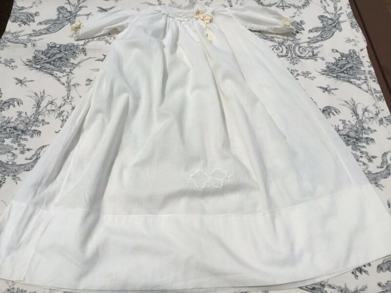 Vintage Christening Gown/Doll Dress 100% White Cotton Embroidered Lace Trim