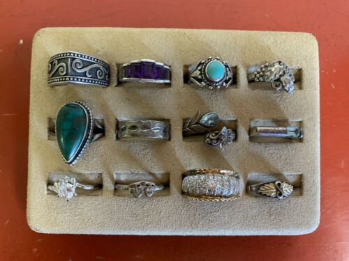 Lot of (12)  Sterling Silver Rings Sizes 7 - 9  Lot # 61