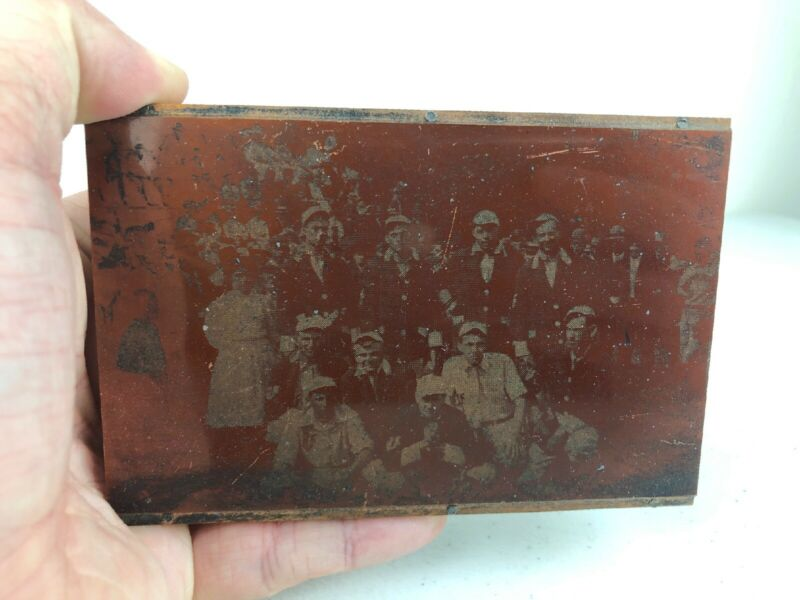 Antique Copper Metal Printing Block Plate Sports Team Baseball? Golf?