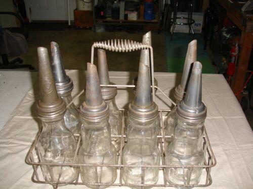Antique Garage Quart Oil Bottles With Metal Rack... 8 Bottle Set