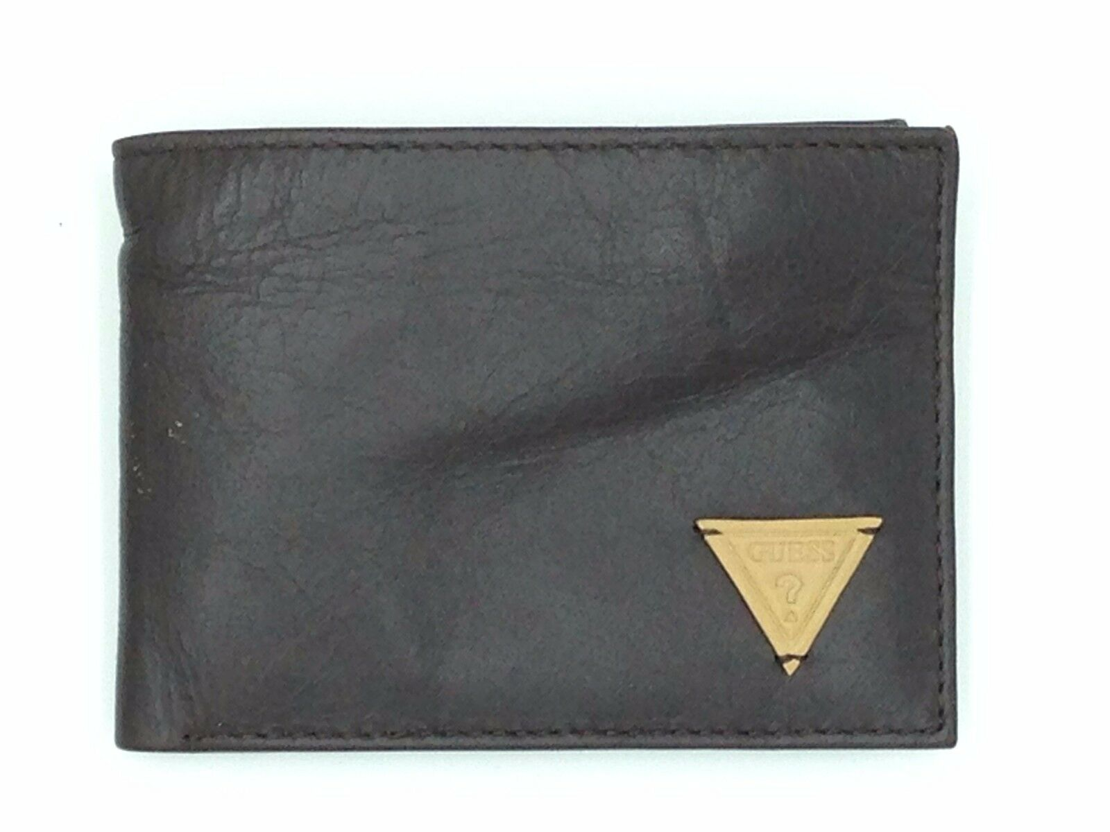 $75 GUESS MENS BROWN LEATHER DOUBLE BIFOLD PASSCASE INSERT C