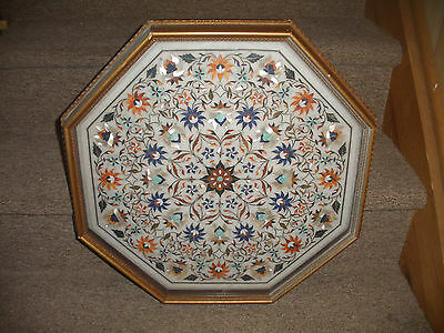 Stone Top Coffee Table - Octagonal top for coffee table pietra dura handmade  stone inlay art