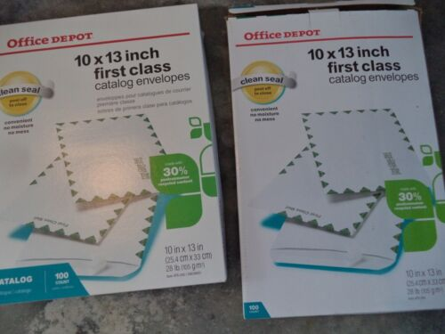 "200 Office Depot Brand 10"" x 13"" White Clean Seal Catalog Envelopes, 100-Pk 250"