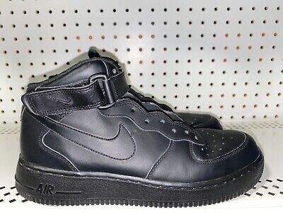 Nike Air Force One Mid GS Boys Leather Athletic Basketball Shoes Size 7Y Black
