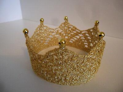 KRONE gehäkelt Farbe gold Prinz Prinzessin Haarschmuck Faschingskostüm - Haar Farbe Kostüm
