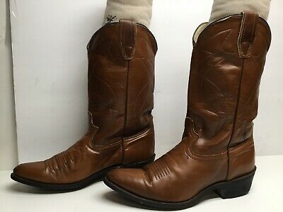 VTG WOMENS UNBRANDED COWBOY BROWN BOOTS SIZE 9 M