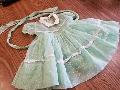 Vintage green Swiss Dot  Baby Doll Dress Lace  6