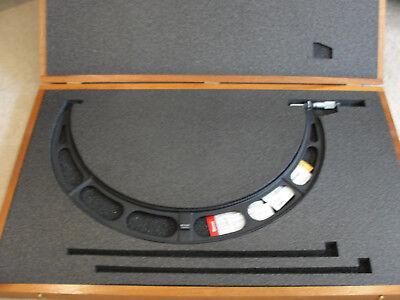 Starrett 436mxrlz-575 Micrometer 550-575mm Ratchet Lock Nut Carbide Case