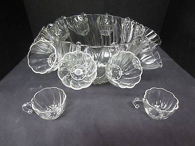 Vintage Punch Bowl with 12 Cups with Handle Hooks (Heavy Pressed Glass)