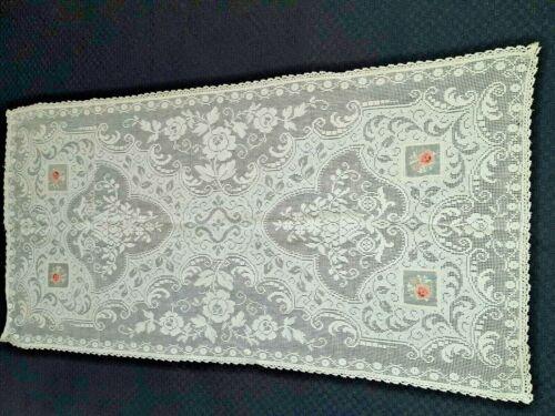 "Antique petite net work organdy embroidered runner scarf doily 16"" x 32"" vtg"