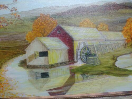 Folk Art Primitive Oil Painting Artist Signed Vintage Rustic Frame Landscape  - $54.00