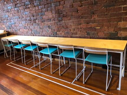 SOLD Funky Cafe long benches with chairs
