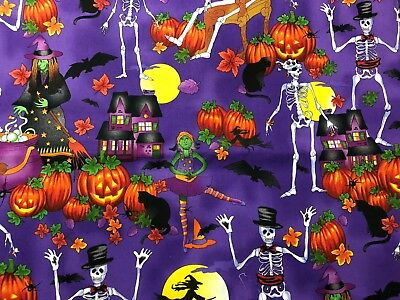 Halloween Skeleton Witch Haunted House Pumpkins Fall Leaves Purple Fabric 18in](Purple Halloween Pumpkins)