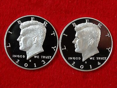 2013 S & 2014 S KENNEDY PROOF CLAD HALF DOLLAR 2 COINS