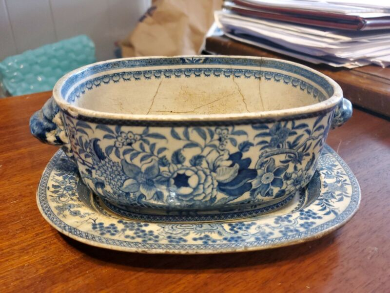 Antique Blue & White Tureen. Believed Old English Bone China of Floral Motiff