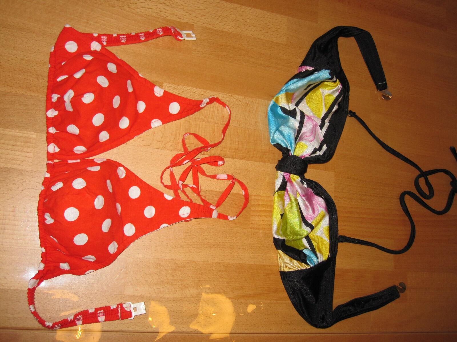 2 Bikini -Oberteile Gr.42 od.kleiner rot m weißen Punkten bzw. schwarz-gemustert