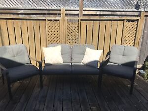 Patio set with pillows