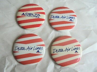 4 Cool Vintage Delta Airlines Promo Advertising Pinback Buttons