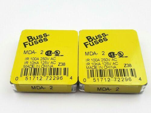 "Lot of 10 Bussmann MDA2 Ceramic Fuses 2 Amp 250 Volt  Slow Blow 1/4"" x 1-1/4"""