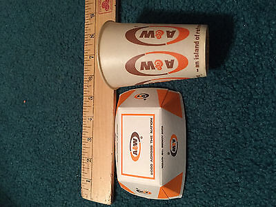 1960's era A&W root beer drive in small paper cup and french fry tray