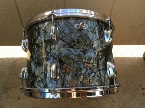 1961 SLINGERLAND 9X13 BLACK DIAMOND PEARL TOM TOM IN ORIGINAL BOX, NR MINT