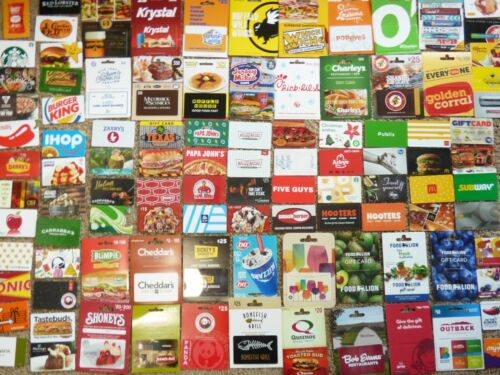 Gift Card LOT of 101 Different Food & Restaurant Only -No Value - Each Pictured