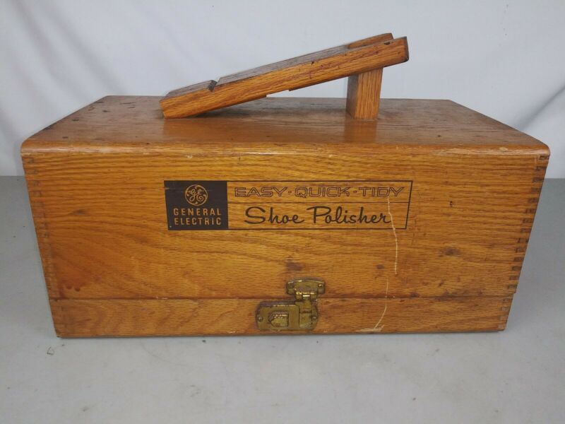 VINTAGE GE GENERAL ELECTRIC SHOE SHINE POLISHER KIT IN WOODEN BOX