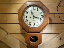 Vintage Linden Wall Clock Oak Octagon Short Drop School Westminster Swanky Barn