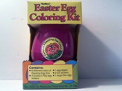 1986 DUDLEY'S EASTER EGG DYE COLORING KIT COMPLETE IN ORIGINAL BOX - PURPLE (Easter Egg Colors)