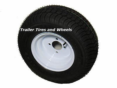 """205/65-10 LRE Bias Trailer Tire on 10"""" 4 Lug White Trailer Wheel 20.5x8.0-10"""
