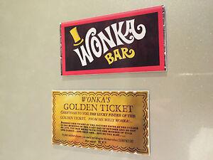 Willy Wonka Bar & Golden Ticket Fridge Magnet Chocolate Bar Cool Retro Gift