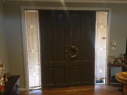 Double front door with side panels & security doors