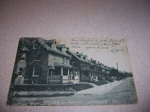 1906 HOUSES on COLUMBIA AVENUE LANSDALE PA. ANTIQUE POSTCARD