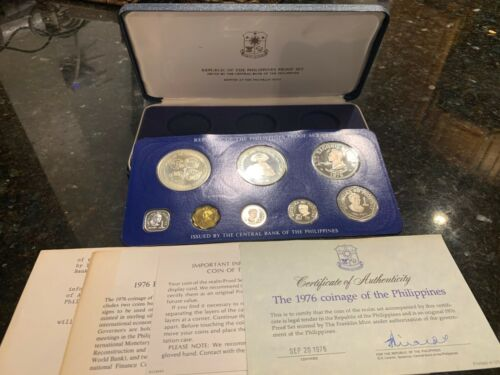PHILIPPINES 1976 8-COIN PROOF SET COMPLETE WITH CERTIFICATE AND LITERATURE