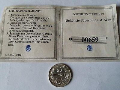 50 Penniä SilbermünzeFinnland 1872-1917 mit Echtheits-Zertifikat