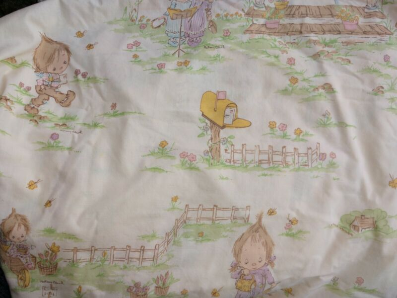 Vintage Cream Background Betsey Clark Fitted Twin Size Bed Sheet or Craft Fabric