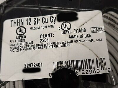 Southwire 12awg 19-stranded Thhnthwnmtw Building Wire Gray 100ft