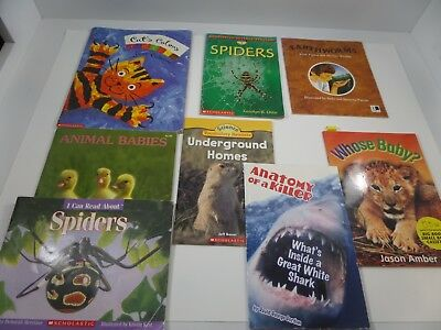 Lot of 8 beginner reader books Animal Babies Earthworms Spiders Whose Baby (Baby Earthworms)