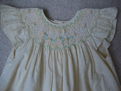 Vintage Bonnie Baby Pale Yellow Smocked Dress Adorable 24 Months