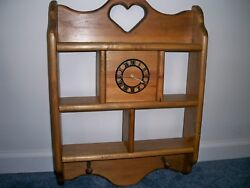 Country Primitive Style Custom Wooden Sectioned Curio Wall Shelf Quartz Clock