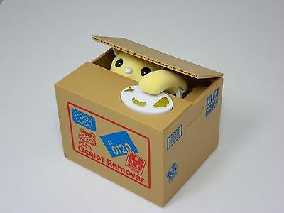 Mischief Yellow Kitty Cat Automated Stealing Coin Saving Box Piggy Bank
