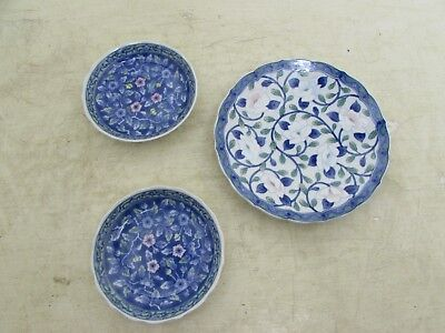 3 Collectable Vintage Japanese Plates, Maebata & 2 Matching Ones Marked, Floral