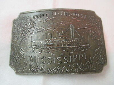 Vintage brass Belt Buckle bronze tone Queen of the West Riverboat Mississippi
