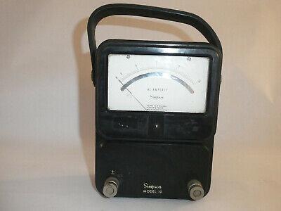 Vintage Simpson Model 10 Ac Amperes Meter Whandle