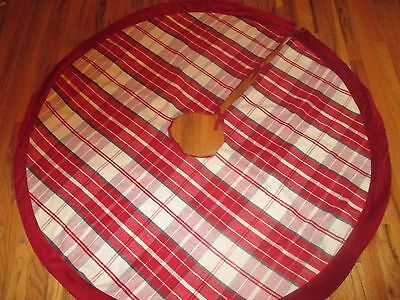 POTTERY BARN KIDS WOOL BLEND RED PLAID CHRISTMAS TREE SKIRT